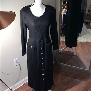 Vintage  MODA INT'L Sweater dress W/ Gold Buttons